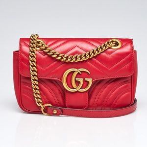 Gucci Hibiscus Red Quilted Leather Marmont Bag
